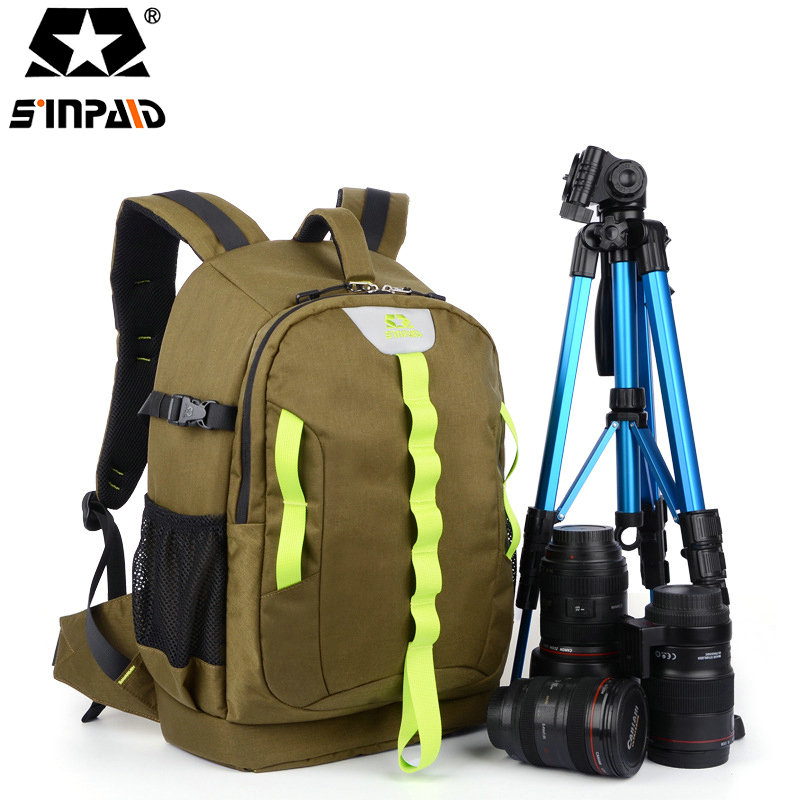 SINPAID Digital DSLR SLR Camera Backpack Large Space Photography Bag Case Anti Shock for Canon Nikon Color Army Green/Black-50 sinpaid anti theft digital dslr photo padded camera backpack with rain cover waterproof laptop 15 6 soft bag video case 50