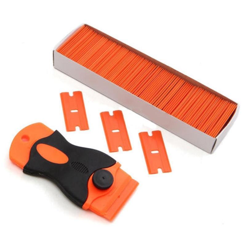 1pc Mini Razor Scraper +100pcs Plastic Double Edge Razor Blades for Car Window Film Squeegees Window Tint Removal Tools