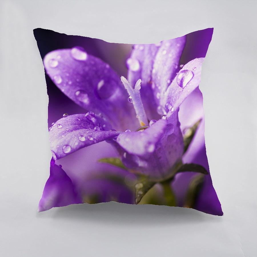 Cuscino in cotone stampato fiore viola 3D Cuscino a forma di cuscino - Tessili per la casa