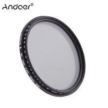 Andoer 49mm 82mm ND filtro Fader densidad neutra ajustable ND2 a ND400 filtro Variable para cámara Canon Nikon DSLR 58mm