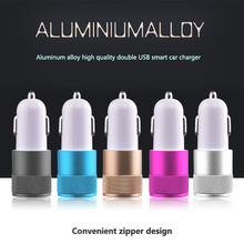 High Quality Mini Aluminum Universal 12V 2 1A Dual Usb Car Charger Adapter Cable For Mobile