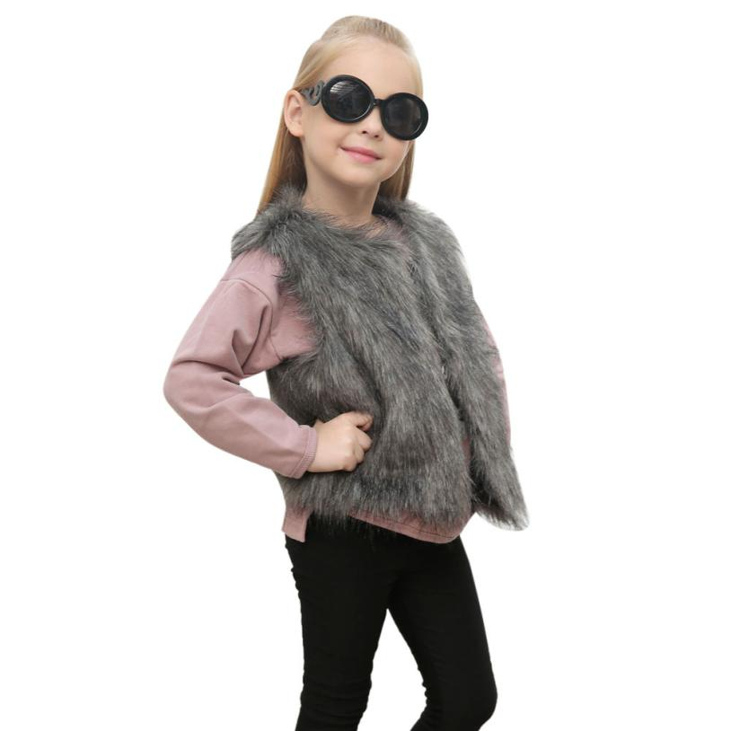 Kid Baby Girl Autumn Winter Faux Fur Waistcoat Thick Coat Warm Outwear Clothes Waistcoat Fur Vest For Baby Clothing