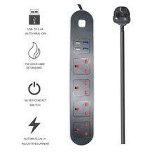 Smart Home Electronic Power Strip Socket Fast Charging with 4 USB Sockets Standard UK Plug Electric Extension Cord 1.8M