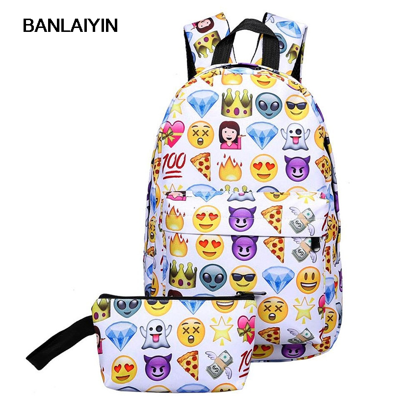 15 Leisure Waterproof Nylon Travel Backpack 2D Smiley Emoji Face Printing School Bag For Teenage Girls Mochila Laptop Bag