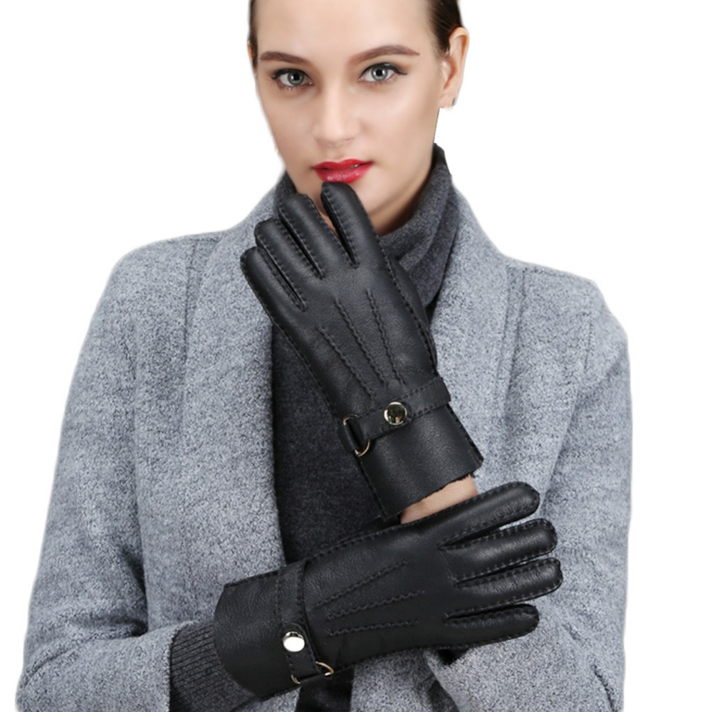 Womens leather gloves teal - Women S Fur Leather Gloves Plus Thick Velvet Warm Sheepskin Wool Winter Skin Black Yellow Gloves