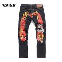 Evisu 2018 Для мужчин hipster джинсы Повседневное модные штаны в стиле хип хоп Для мужчин карманов джинсы прямые длинные классический глубокий сини