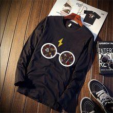 bf76077f5 Puro Algodão T-Shirt Engraçado Harajuku Estética de Harry Potter Impresso  Manga Comprida Moda Tops Casuais   T Marca de Roupas U..