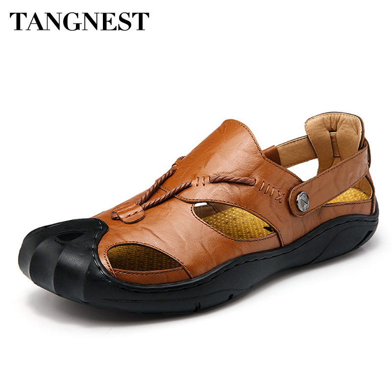 Tangnest Summer Men Cow Leather Sandals Rome Style Outdoor Casual Shoes Breathable Gladiators Flat Shoes Size 38-46 XMR2819
