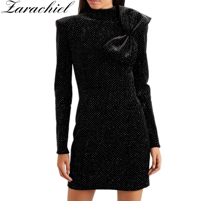 New Fashion Runway Designer Gilding Sequines Velvet Dress 2018 Winter Women Long Sleeve Big Bowknot Sheath Bodycon Party Dress