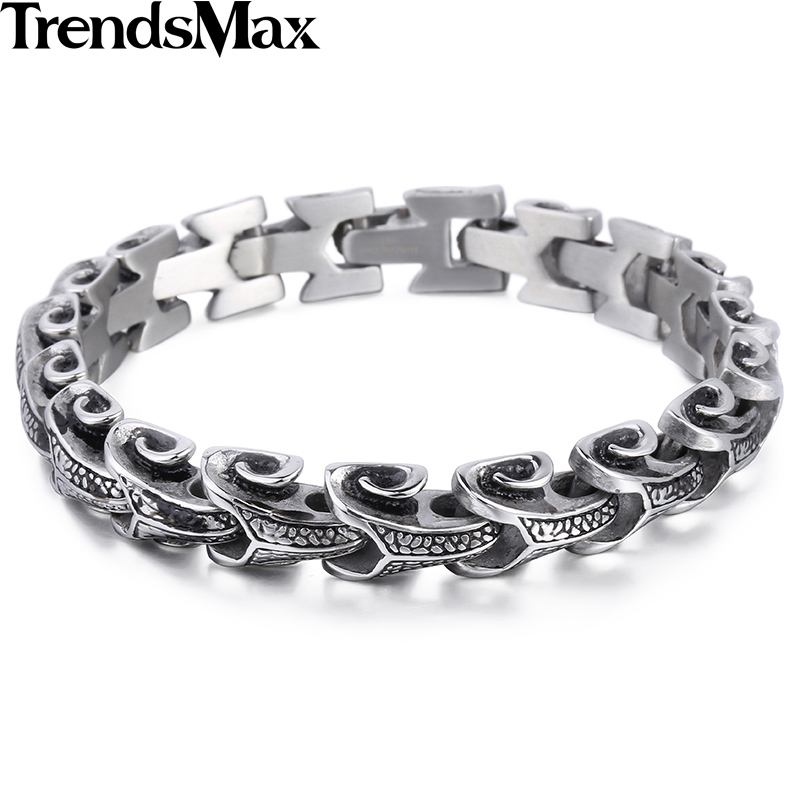 Trendsmax Cool Stainless Steel Dragon Grain Bracelets Men Punk Rock Keel Mens Bracelets & Bangles For Man Jewelry HB342 trustylan cool stainless steel dragon grain bracelets men new arrival punk rock keel mens bracelets