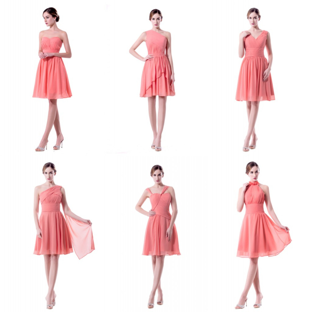 Aliexpress buy mixed different style coral colored aliexpress buy mixed different style coral colored bridesmaid dresses short 2017 wedding party dresses knee length maid of honor 6301453 from reliable ombrellifo Images
