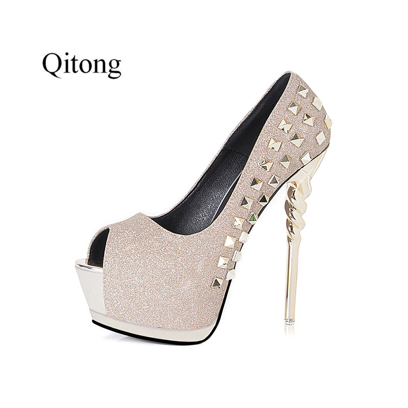 Summer Qitong Hot Platform Peep Toe High Heel Pumps Gladiator Style Women Party Nightclub Shoes zapatos mujer 4 Shinning Colors free shipping hot sale crystal platform women boots nightclub performance woman botas zapatos mujer party pumps side 35 45 46