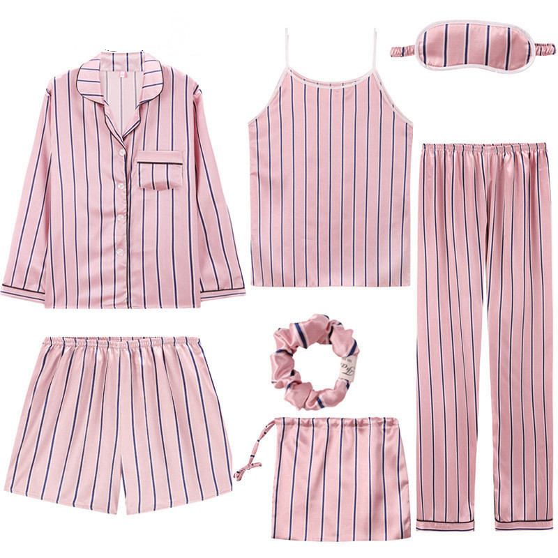 2019 Brand Pink Women 39 s 7 Pieces Pajamas Sets Emulation Silk Striped Pajamas Women Sleepwear Sets Spring Summer Autumn Homewear in Pajama Sets from Underwear amp Sleepwears
