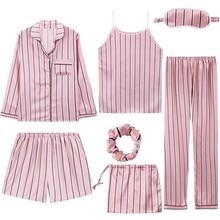 2019 Brand Pink Womens 7 Pieces Pajamas Sets Emulation Silk Striped Women Sleepwear Spring Summer Autumn Homewear