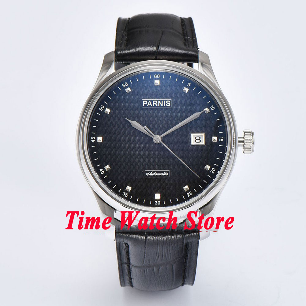 лучшая цена Parnis 43mm black dial silver hands date Automatic movement mens watch 696