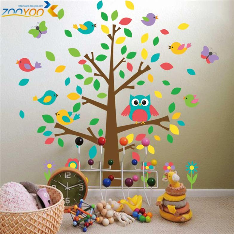 Hot Selling Owl Wall Art For Kids Room Wall Decals Zooyoo1011 Diy  Decorative Sticker Home Decorations Animal Wall Stickers In Wall Stickers  From Home ...