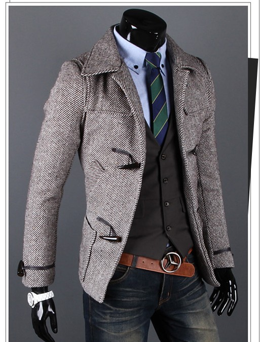 Compare Prices on Grey Pea Coat Men- Online Shopping/Buy Low Price ...
