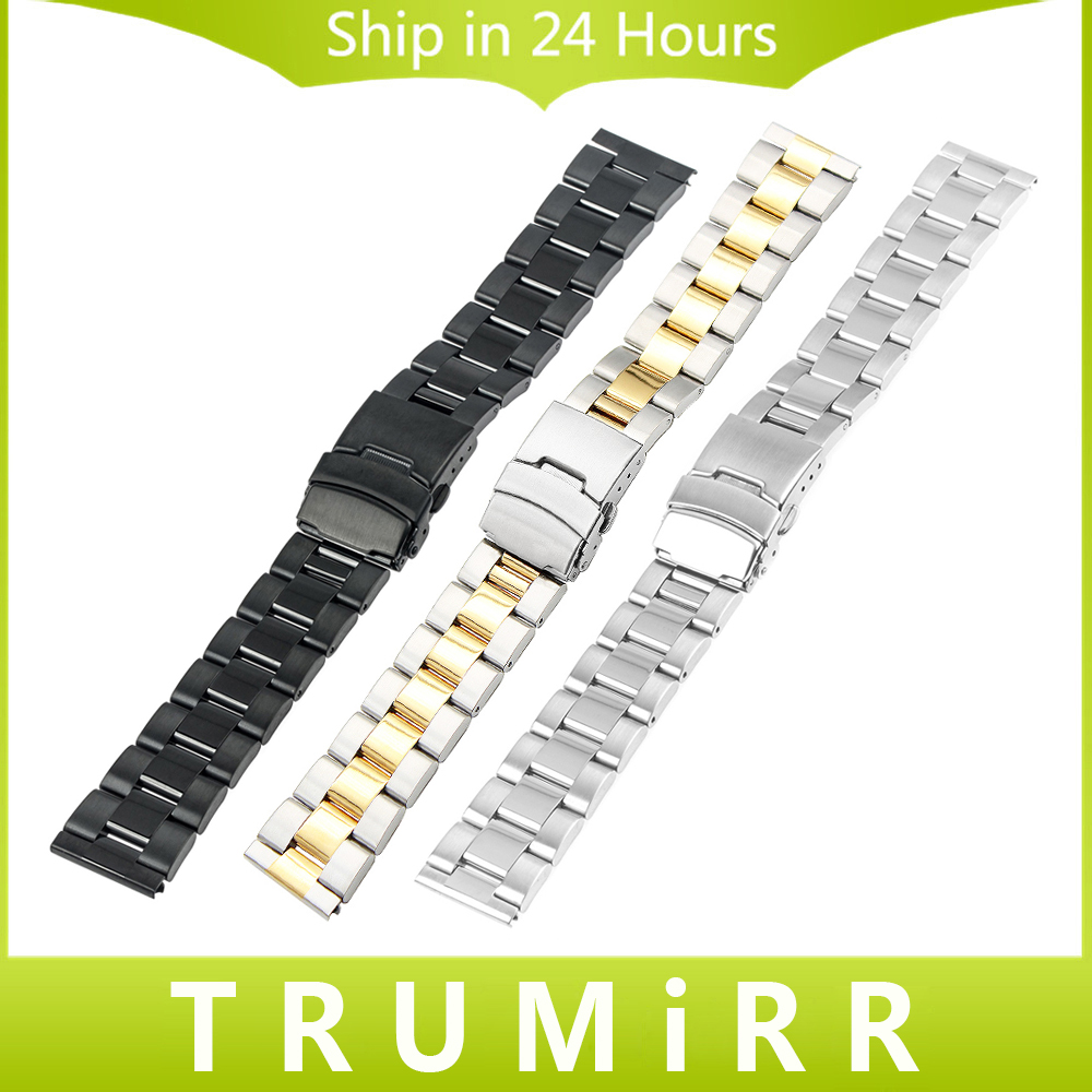 18mm 20mm 22mm 24mm Universal Watchband 3 Pointer Stainless Steel Watch Band Strap Link Bracelet with Safety Buckle Black Silver блюз эспрессо ваниль кофе молотый в капсулах 10 шт