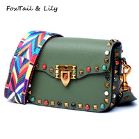 FoxTail Lily Colorful Pearls Fashion Rivets Women Genuine Leather Mini Messenger Bags Brand Designer Shoulder Crossbody