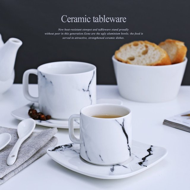 marble grain mug sets drinkware water bottle kitchen dinnerware coffee mug with tray tea sets