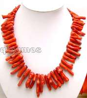 SALE Beautiful! Big 8*40mm GENUINE natural Red Branch shape Coral 20
