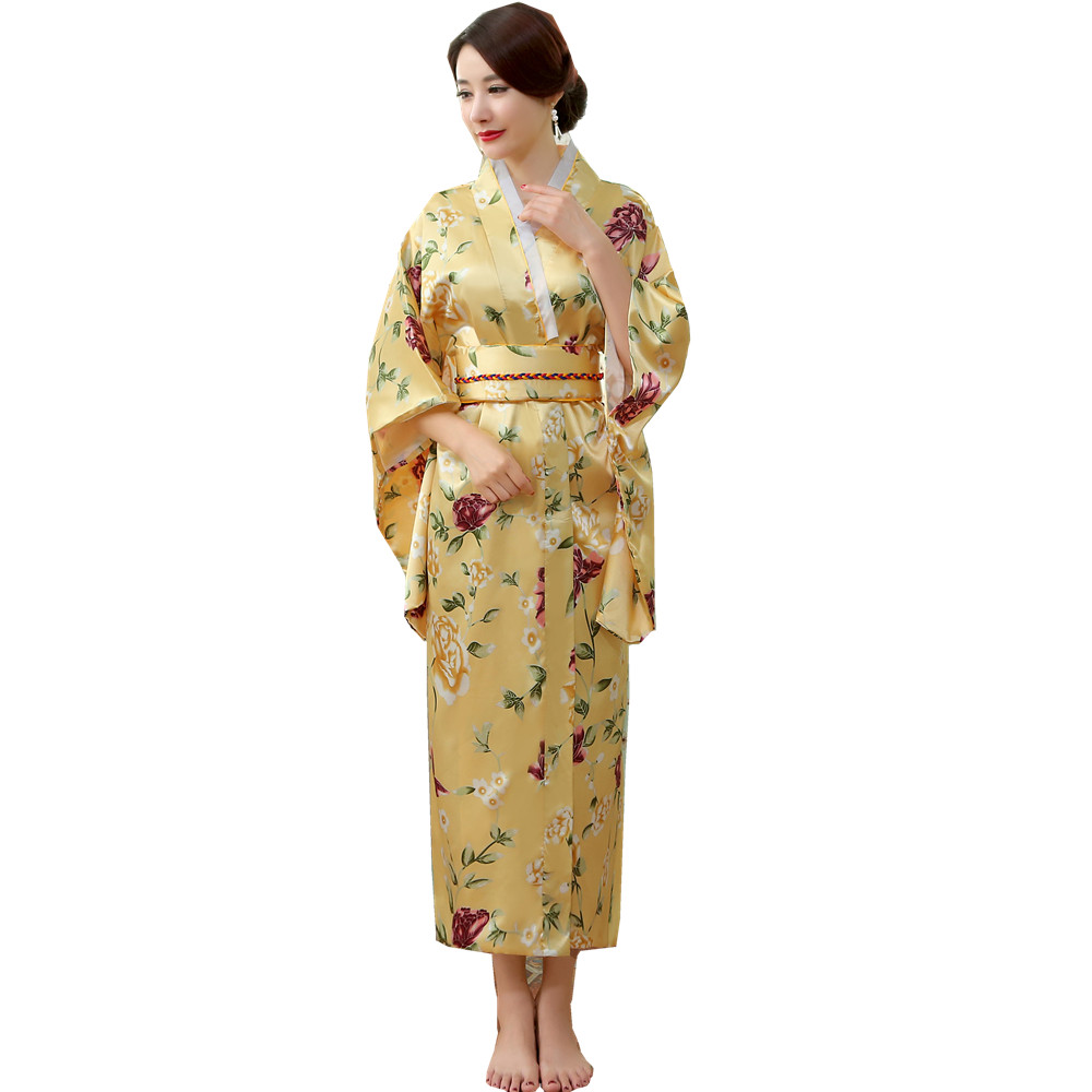 Japanese Traditional Women Silk Rayon Kimono Vintage Yukata With Obi Performance Dance Dress Halloween Costume One Size HL04