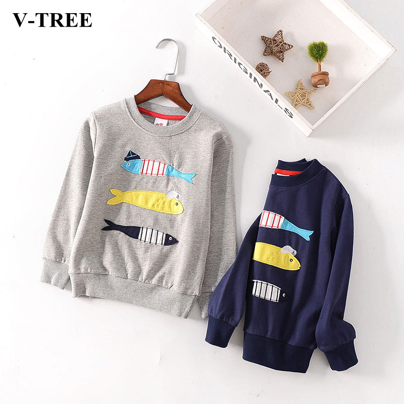 V-TREE Boys Shirts 2017 Boy T Shirt 10 12 Years Long Sleeve Children Sweatshirt Embroidery T Shirt For Girls Pullover Top