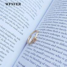 WFSVER 925 sterling silver ring for women gold color square with white crystal wedding rings opening adjustable fine jewelry wfsver women rose gold silver 925 sterling silver ring bohemia with white crystal leaf shape ring opening adjustable jewelry