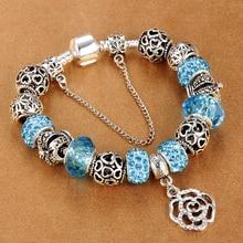 Snake Chain Charm Bracelet With Flower Rose Dangle