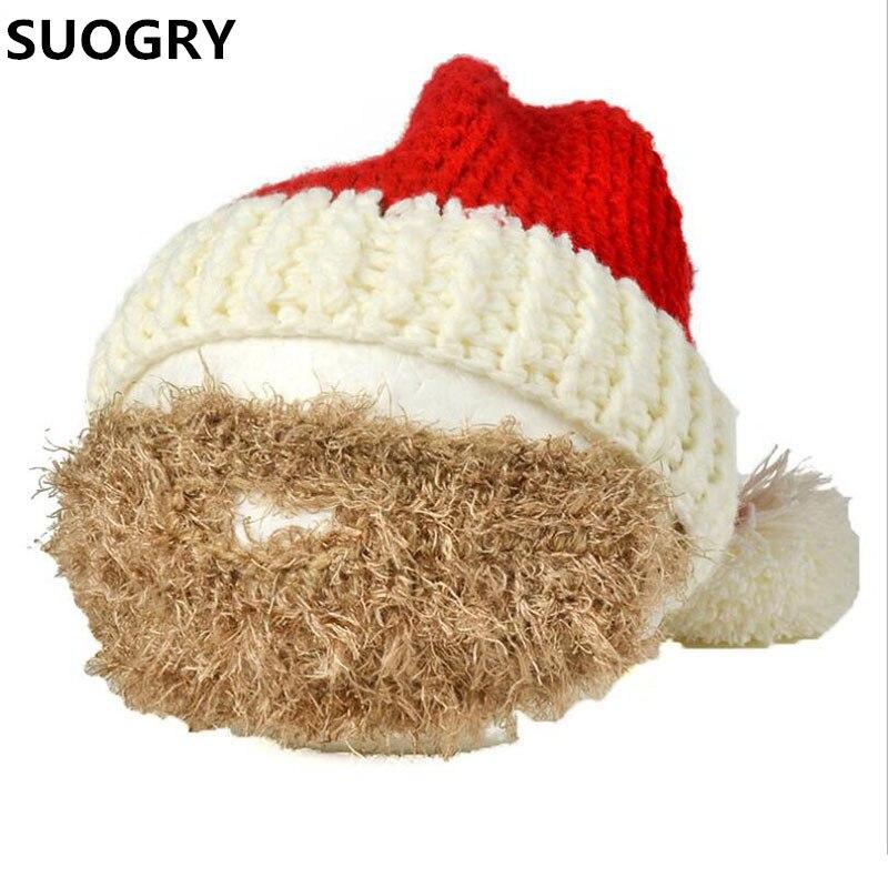 Novelty Beard Santa Claus Beanies Men's Women's Funny Christmas Hats Xmas Party Ski Mask Handmade Winter Warm Gorros Cool Gifts