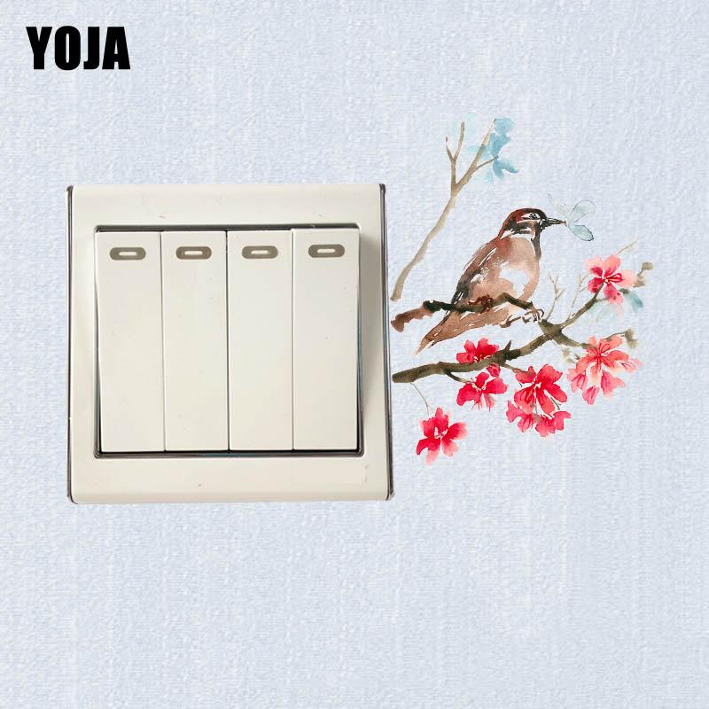 YOJA Vivid Classic Bird In Flower Branch Design Switch Decal Fashion Colorful Cartoon Plant PVC Wall Sticker 13SS0015