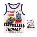 2016 thomas y amigos de la camiseta ropa de los cabritos camiseta de los muchachos ropa de verano sin mangas del bebé camiseta de los niños thomas tren menino