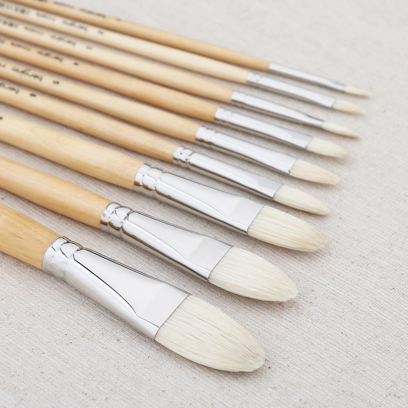 BGLN 1Piece Master Bristle Nail Round Oil Painting Brush Solid Wood Pole Artist Oil Acrylic Paint Brushes Art Supplies 7110FR in Paint Brushes from Office School Supplies