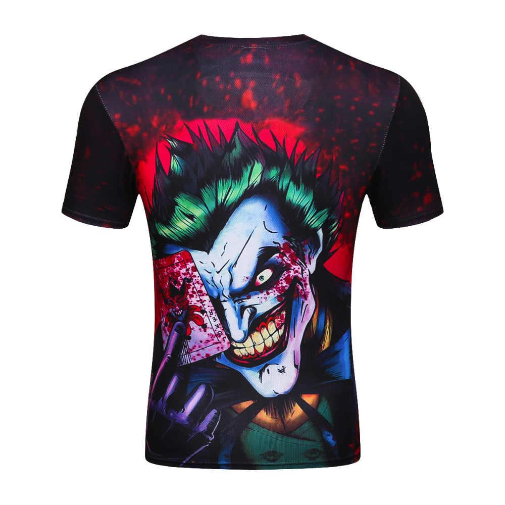 Новинка 2017 Джокер 3d футболка смешные Комиксы Характер Джокер с покер 3d Футболка Летний стиль наряд футболки полная печать