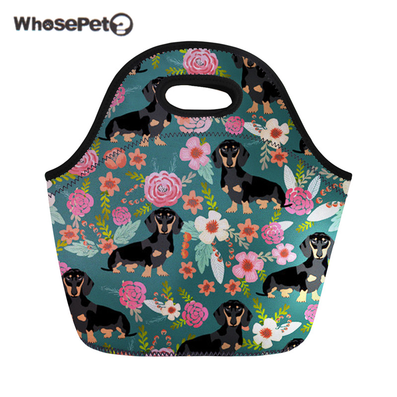 WHOSEPET Cooler Bag Dachshund Dog Kids Girls Neoprene Lunch Bags Dessert coffee Office Pouch Portable for Women Picnic Snack New