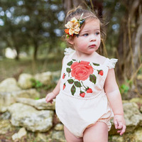 2017 Fashion Newborn Kids Baby Girl Lace Floral Bodysuit Sunsuit Outfits Ruffle Cute White Princess Bodysuit