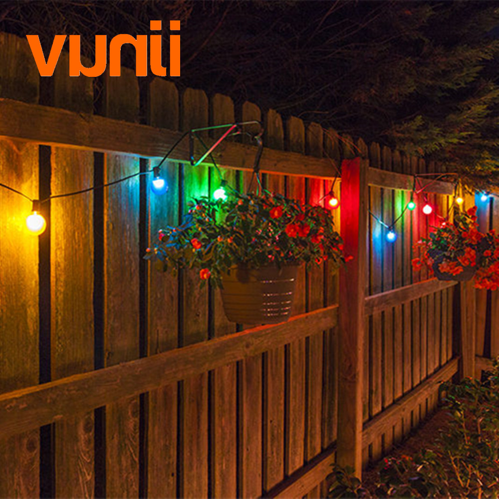 VUNJI IP65 Milky Globe G50 Multicolor Bulb String Connectable Outdoor String Lights For Party Christmas Wedding Garland Lights