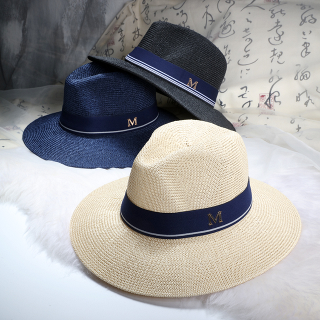 2016 New Maison Michel Straw Hats Wide Brim M Letter Summer Hat Women  Chapeu Jazz Trilby