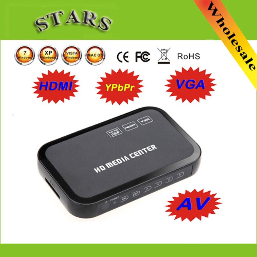 2 pièces 1080 P multi HD lecteur vidéo multimédia Center avec HDMI VGA AV USB SD/MMC Port avec Télécommande YpbPr Câble AV