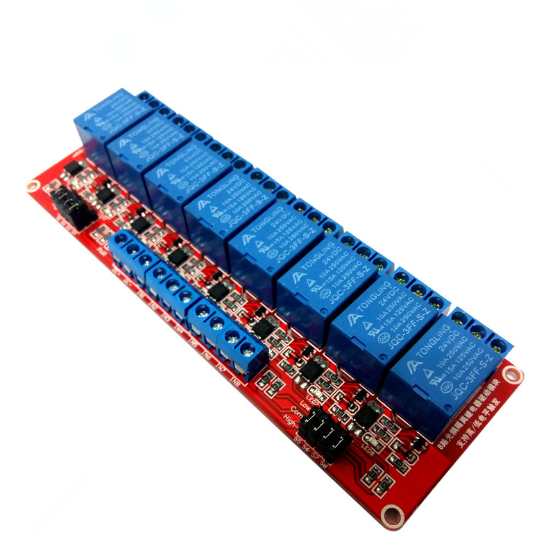 1PCS Red 8 Channel 24V Relay Module High and Low Level Isolation Optocoupler1PCS Red 8 Channel 24V Relay Module High and Low Level Isolation Optocoupler