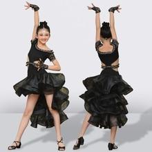 High end Custom Latin Dance Dress For Girls Shiny Rhinestone Childrens Latin Dancing Black Performance Competition Dresses