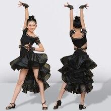 High end Personalizzato Vestito Da Ballo Latino Per Le Ragazze Lucido Strass Bambini Latino scarpe da Ballo di Performance Nero Abiti Da Competizione