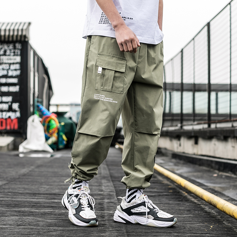 2019 New Summer Men Streetwear Ribbons Casual Pants Slim Mens Joggers Pants Side-pockets Cotton Man Trousers ABZ395