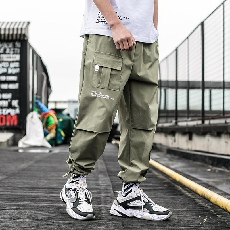 2019 New Summer Men Streetwear Ribbons Casual Pants Slim Mens Joggers Pants Side-pockets Cotton Man Trousers ABZ395