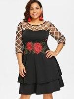 5e6d1a04b853e Wipalo Plus Size Sheer Yoke Embroidery Tiered Party Dress Three Quarter  Sleeve Plaid Trim Knee Length Dress Vestidos Femme 5XL