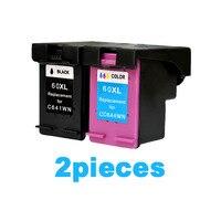 2pcs For HP 60 Ink Cartridge For HP 60 Deskjet D2545 F4480 ENVY120 C4650 C4680 Printer