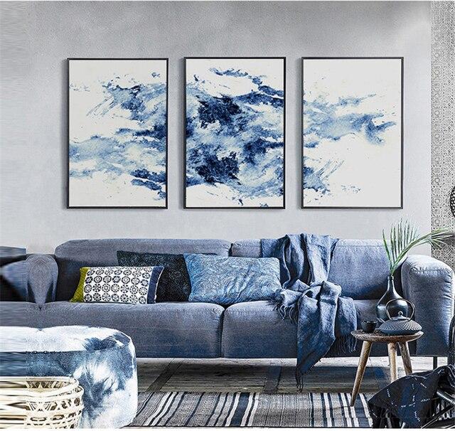 Schwarz Blau Serie Aquarell Moderne Abstrakte Leinwand Wandbild ...