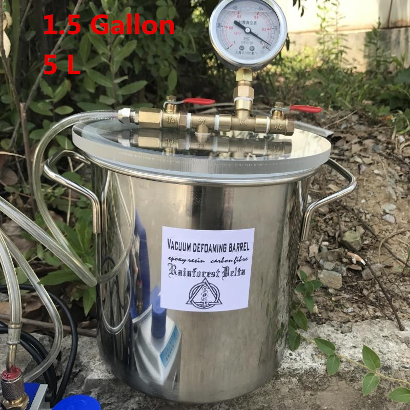 5L/10L/20L Stainless Steel Vacuum Chamber 1.5 Gallon Vacuum Defoaming Barrel For Epoxy Resin AB Glue Y