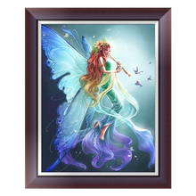 Diy 5D Diamond Painting Embroidery Fairy Cross Stitch Kit Home Decor Elf,Butterfly Angel Hand Holding A Flute