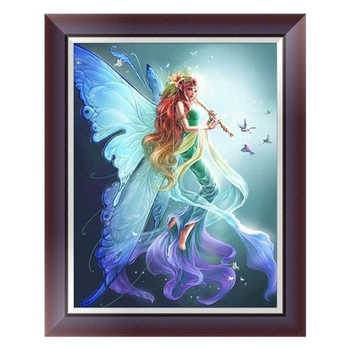 Diy 5D Diamond Painting Embroidery Fairy Cross Stitch Kit Home Decor Elf,Butterfly Angel Hand Holding A Flute - DISCOUNT ITEM  36% OFF All Category